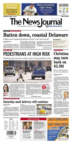Announcement of new per / bike safety working group in the News Journal (April 2013)
