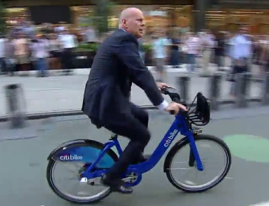 Actor Bruce Willis riding a Citi Bike to an appearance on the David Letterman show on Monday.