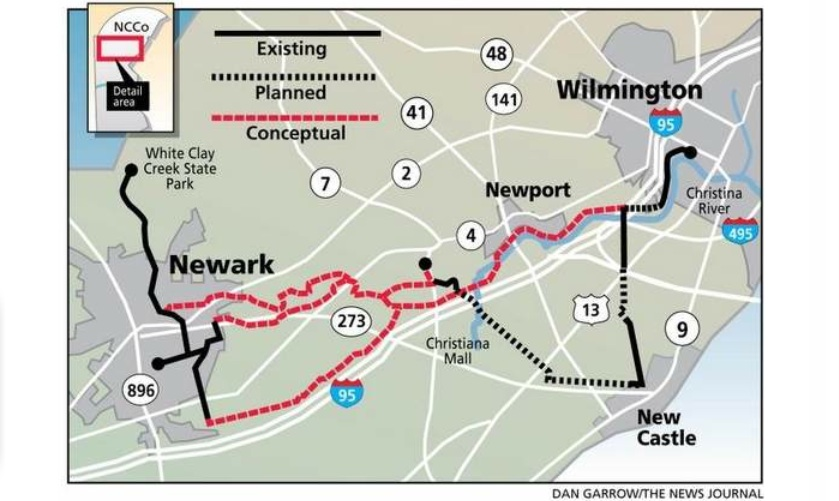Proposed trail alignments between Wilmington and Newark