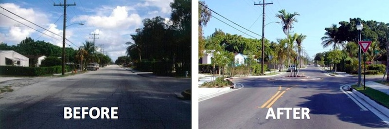 Photo credit: Ian Lockwood Intersection in West Palm Beach before and after traffic calming.