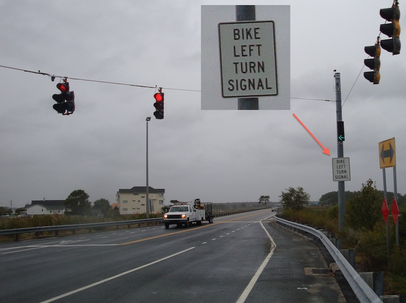 A traffic signal in Fenwick Island...just for bicycles!