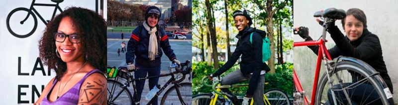 Ayesha McGowan, Mary Shyne, Laura Solis and Casey Ashenhurst are among a group of 10 women cycling 300 miles to encourage a larger female presence at the National Bike Summit.
