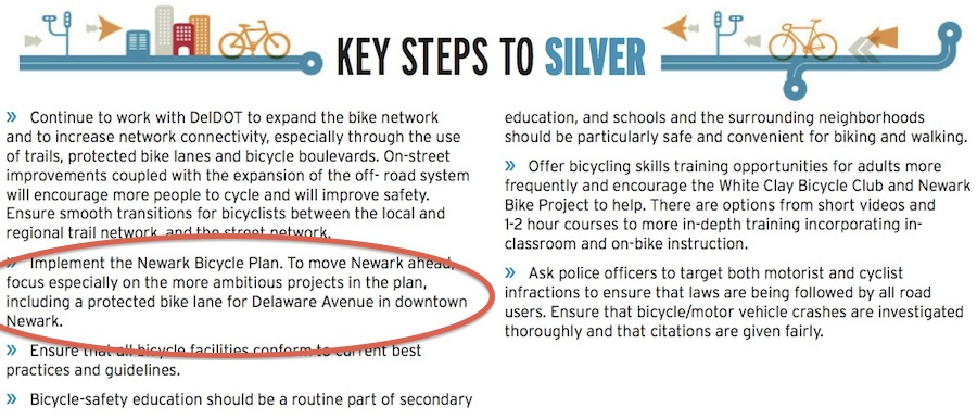 """Key Steps to Silver"" from the the League of American Bicyclists' ""report card"" for Newark"