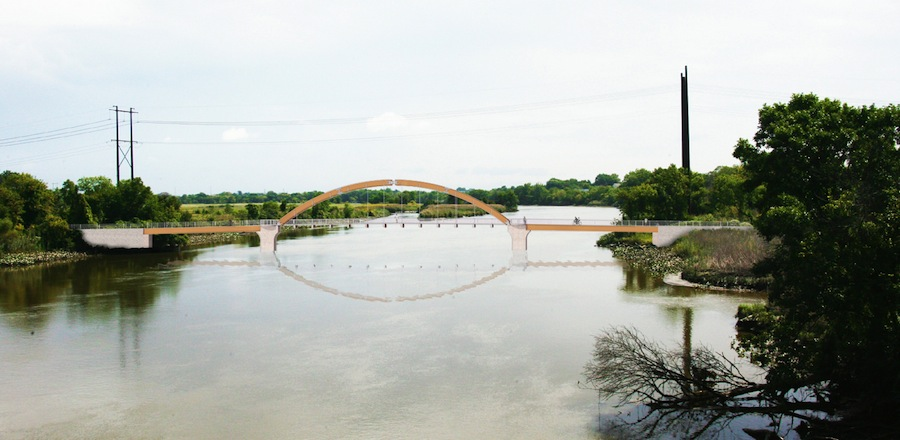 A rendering of the proposed bridge over the Christina River to complete the Wilmington-New Castle Greenway. Funding for this bridge was included in the capital budget passed yesterday by the Delaware General Assembly's Joint Committee on Capital Improvement.
