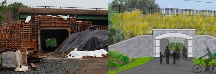 Work has started (left) on the Route 13 underpass that will connect Phase 1 and Phase II of the Wilmington-New Castle Greenway. A rendering (right) of what the tunnel will look like when complete.