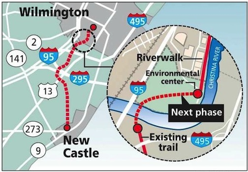 The final phase of the Wilmington-New Castle Greenway - including a bridge over the Christina RIver - will be Delaware's biggest cycling improvement project.