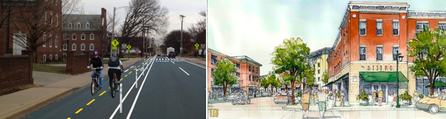 Innovative cycling infrastructure (left) and bicycle-friendly land use (right)