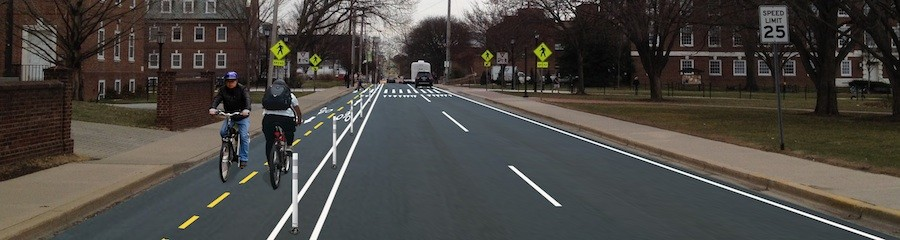 Rendering of a proposed two-way cycle track on Delaware Avenue in downtown Newark.