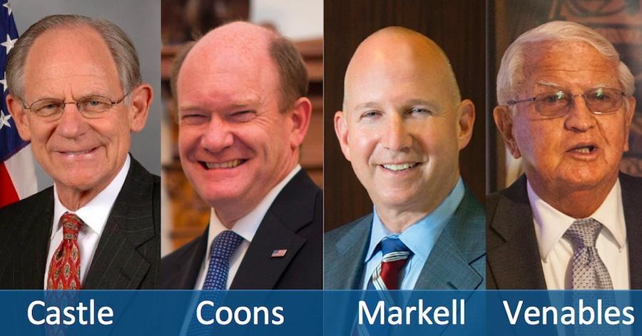 (L-R): Mike Castle, Senator Chris Coons, Governor Jack Markell, Bob Venables
