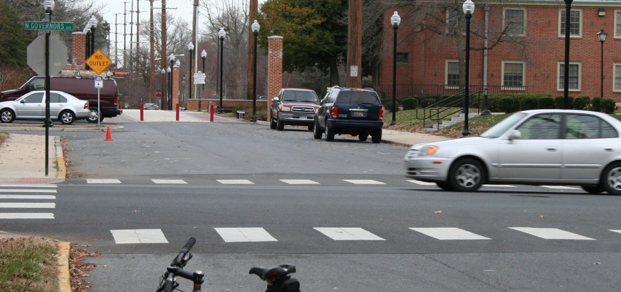 A section of the proposed Senator Bikeway as it would approach Wesley College in Dover.