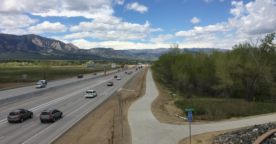 "The ""US 36 Bikeway"" is a totally separate bicycle highway connecting Boulder and Denver in Colorado."